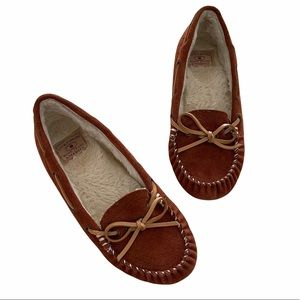 LUCKY Brand Moccasin Suede Slipper Tuscany Brown 7
